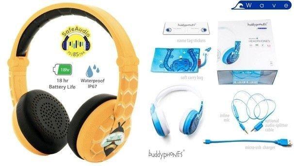 Klikk på bildet for å forstørre. Buddyphones Wave er veldig gode hodetelefoner for barn til og med barneskolen.