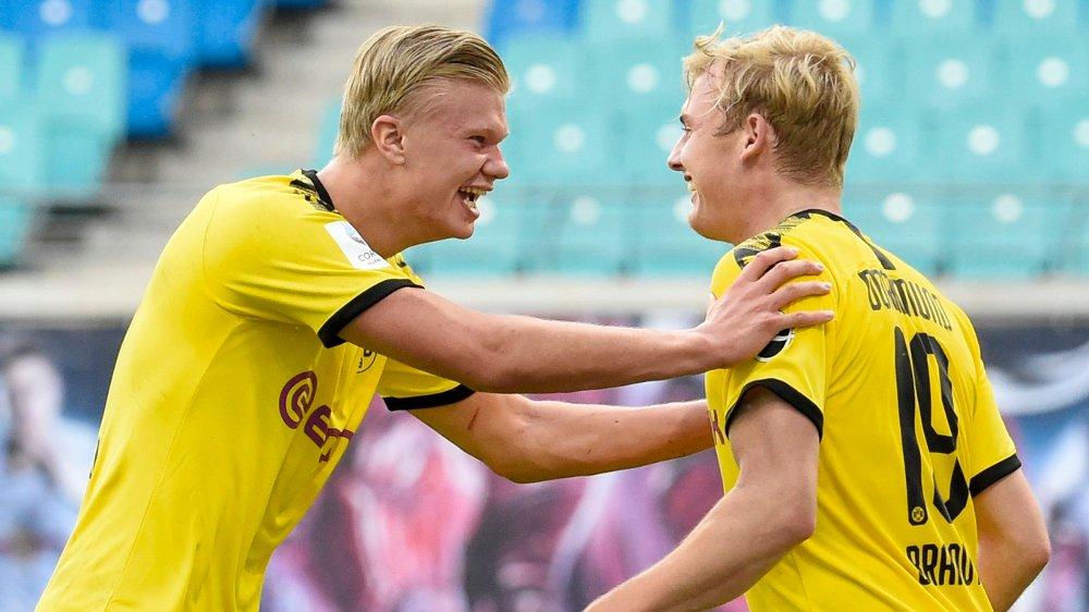 Klikk på bildet for å forstørre. Leipzig, Tyskland 20200620. Dortmund's Erling Braut Haaland