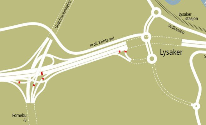 BOM: De røde feltene indikerer hvor bomstasjonene i Bærum skal ligge.