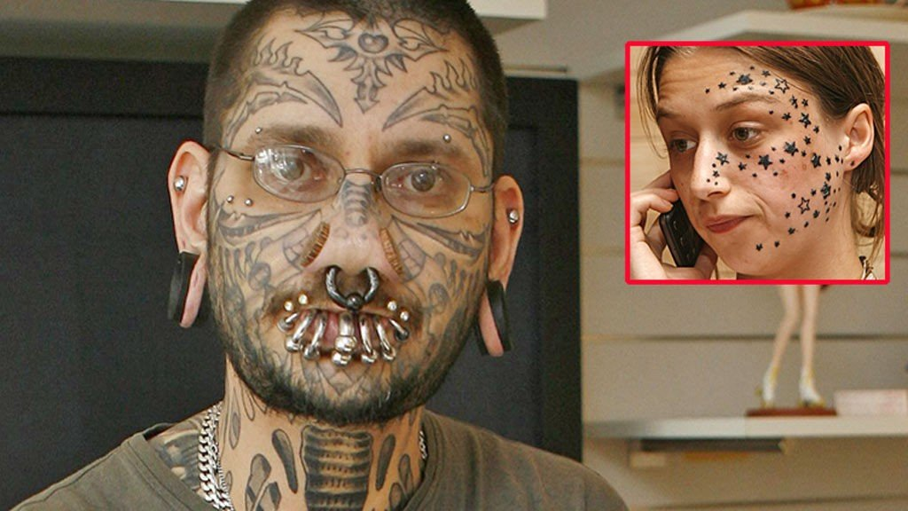 IKKE FORNØYD KUNDE: Tatovør Rouslan Toumaniantz tatoverte 56 stjerner på Kimberley Vlamincks ansikt.