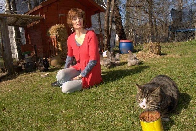 Hvem eier denne flotte, sultne katten? Mari Maurstad har fått den som fast gjest i sin hage på Ris og lurer på hvor den hører hjemme. Foto: Halvor Solhjem Njerve