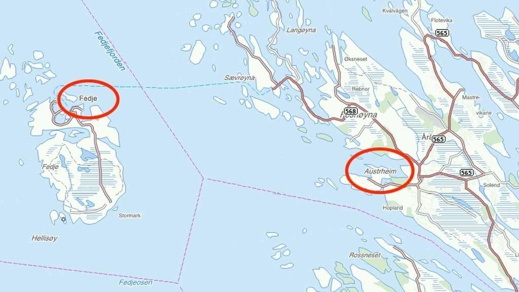 LANG DISTANSE: Amund svømte fra Fedje over Fedjefjorden til Austrheim.
