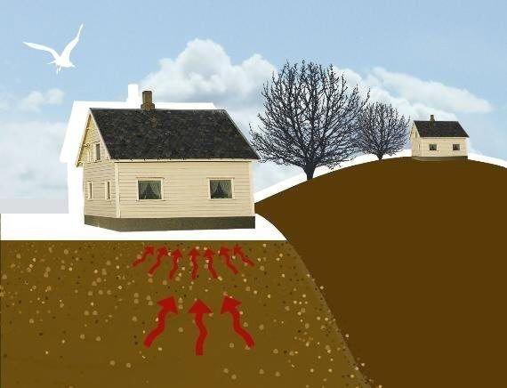 Radon er en usynlig og luktfri edelgass som siver opp fra grunnen. Den har liten evne til å binde seg til faste stoffer. Det fører til at radon lett unnslipper materialer og frigjøres til luft.