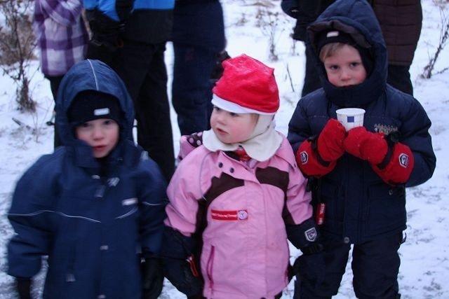 (F.v.) Aron (3), Helene (3) og Magnus (3) gledet seg til å møte nissen og synge julesanger. Foto: Kaja Stabursvik