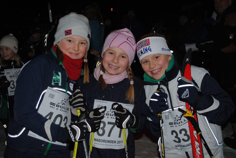 Anine Wilberg (fr.v), Helene Wilberg og Johanne Risholm Bråstein (alle 9 år fra Heming).