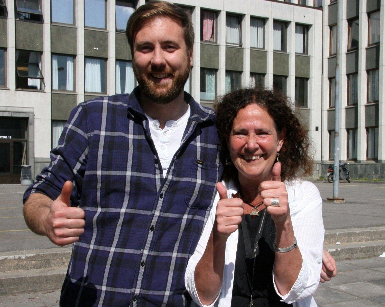 Anna Stina Henriksson og Nils Løkken fra Bygg- og anleggslinja på Sogn vgs. er godt fornøyd med elevenes innsats under Gründer Campen.