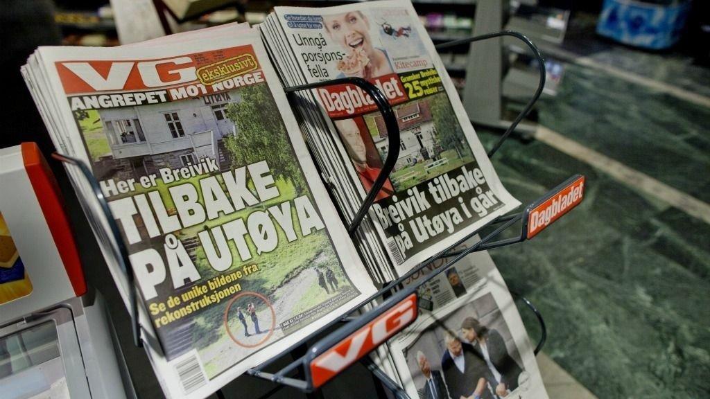 VG sin forside 14. august som viser den terrorsiktede Anders Behring Breivik under avhør av ham i går, lørdag på Utøya. Avisen var som eneste medie tilstede for å observere avhøret.