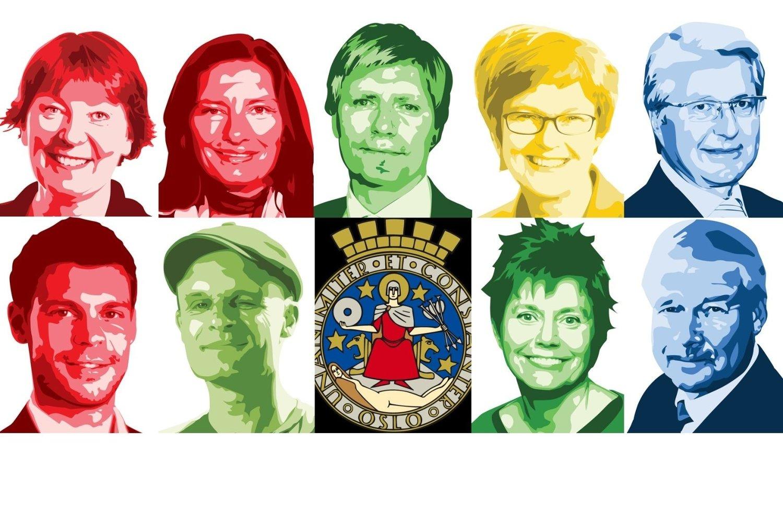 HVEM VINNER? Øverst f.v. Marianne Borgen (SV), Libe Rieber-Mohn (Ap), Ola Elvestuen (V), Aud Kvalbein (KrF) og Fabian Stang. Nede f.v. Bjørnar Moxnes (R), Harald A. Nissen (MdG), Margaret Eide Hillestad (Sp) og Carl I. Hagen (Frp).