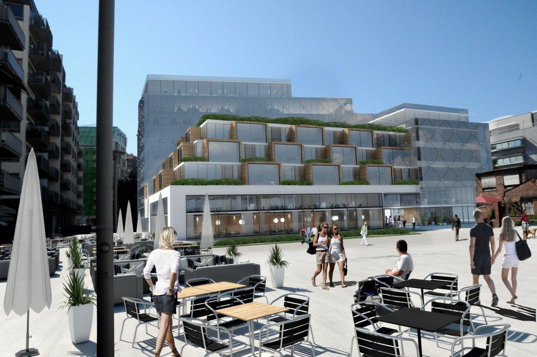 IKKE BARE GLASS OG BETONG: Dette er et eksempel på hvordan bygget kan se ut. Arkitekttegningene som ble presentert på tirsdagens møte tok betydelig høyde for å optimalisere solforholdene på plassen.