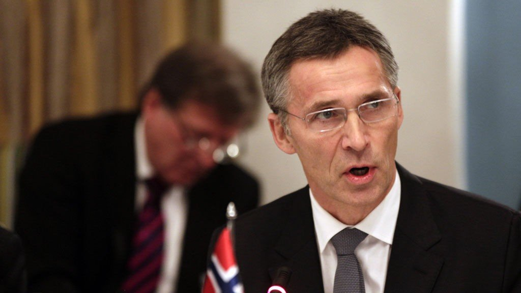 Norwegian PM Stoltenberg welcomes guests during a working luncheon for EU leaders attending Nobel Peace Prize Award Ceremony in Oslo