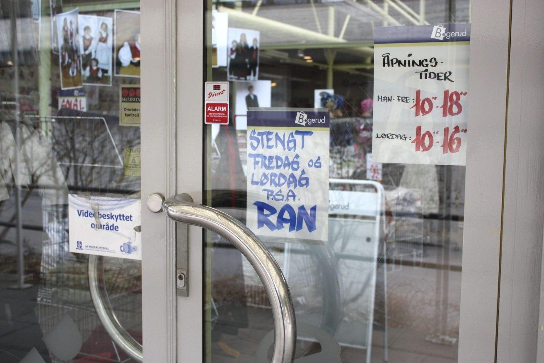 RAN: Bogerud Tekstil i Prinsdal er stengt etter et væpnet ran ved midnatt torsdag.