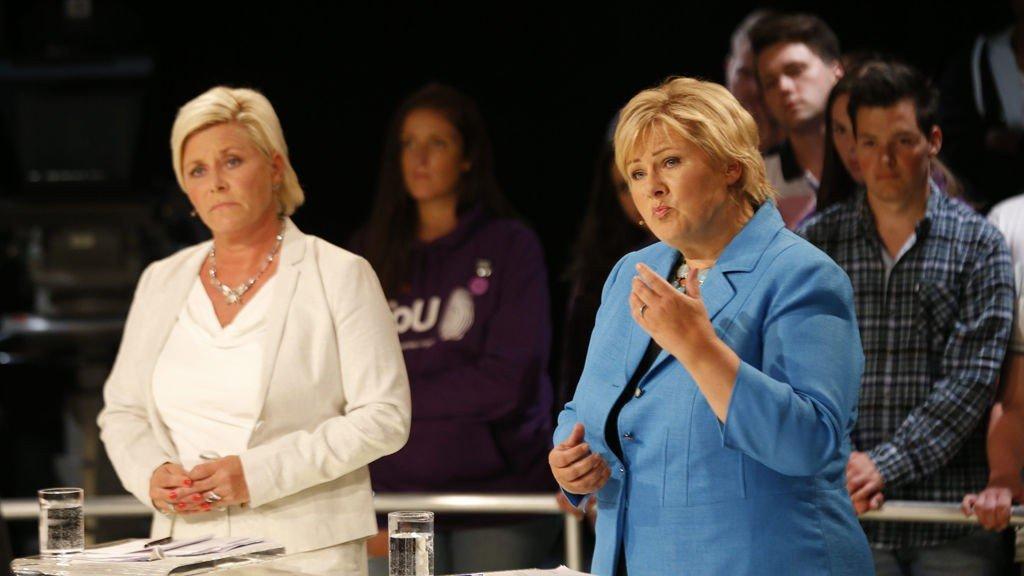 Siv Jensen og Erna Solberg forsvarte anklagene om at det borgerlige samarbeidet ikke vet hvem de er.