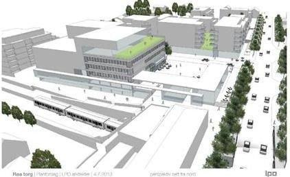 Disse skissene viser et forslag til hvordan sentrum av Røa kan utformes. Skisse: LPO Arkitekter