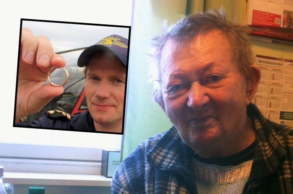 FANT: Christian Eriksen (til venstre) fant tilfeldigvis en gullring på FInnmarksvidda. Den viste seg å tilhøre Nils Mathisen Sara - som mistet den for 50 år siden.