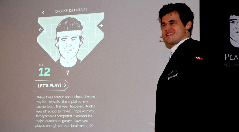 SLO SEG SELV: Magnus Carlsen skal til å spille mot seg selv som tolvåring.