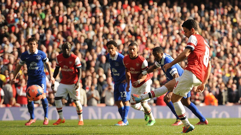 Arsenal Mikel Arteta var sikker fra ellevemeteren - to ganger. Foto: Pa Photos / Andrew Matthews