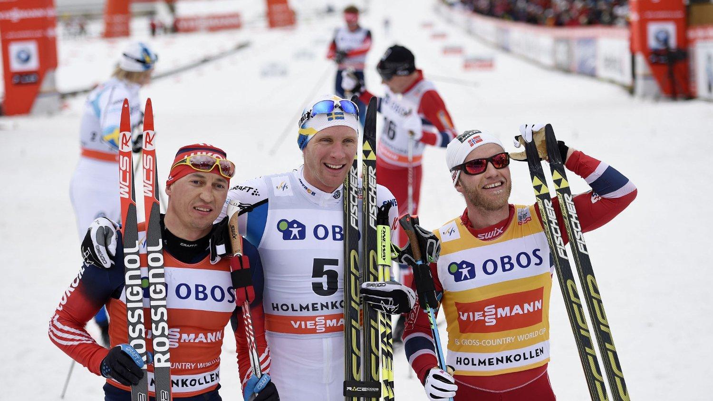 TJENER MEST: Martin Johnsrud Sundby (t.h.) har tjent over dobbelt så mye som sine konkurrenter i premiepenger denne sesongen.