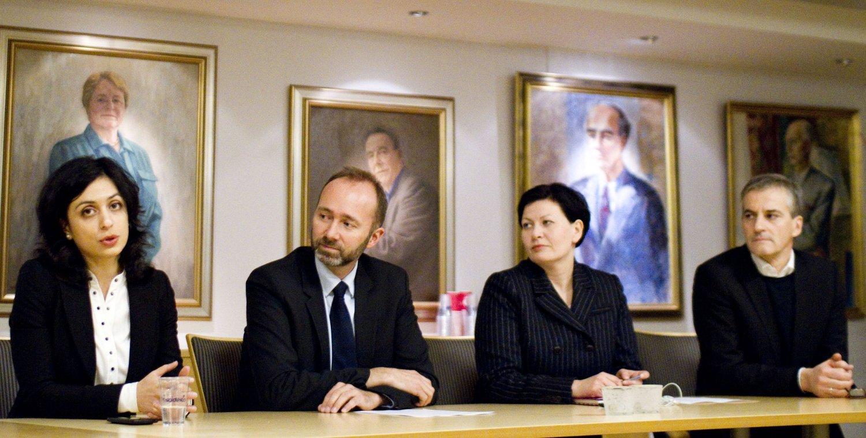 Hvem skal lede Ap videre hvis Jens Stoltenberg blir ny Nato-sjef? Her er Hadia Tajik, Trond Giske, Helga Pedersen og Jonas Gahr Støre. Foto: Ap/Flickr