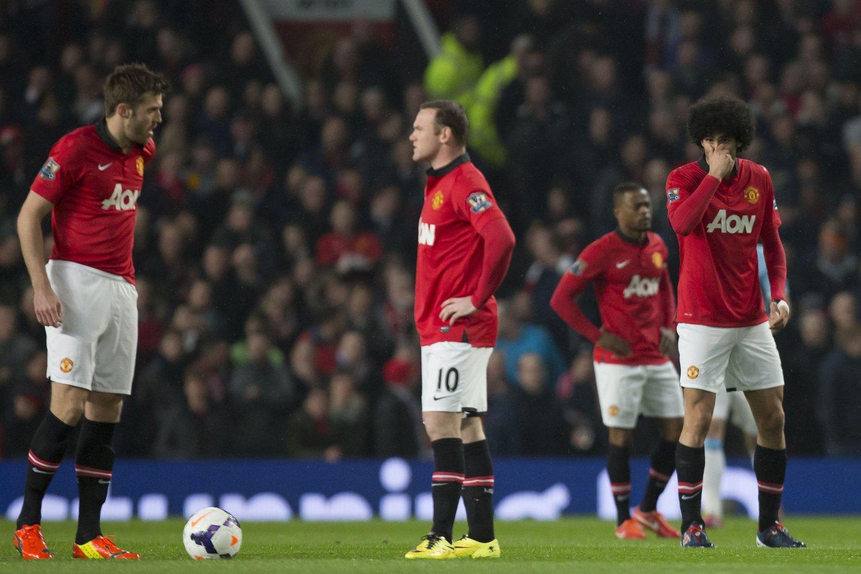 SØRGELIG: Manchester United fikk tre i sekken mot erkerival Manchester City.