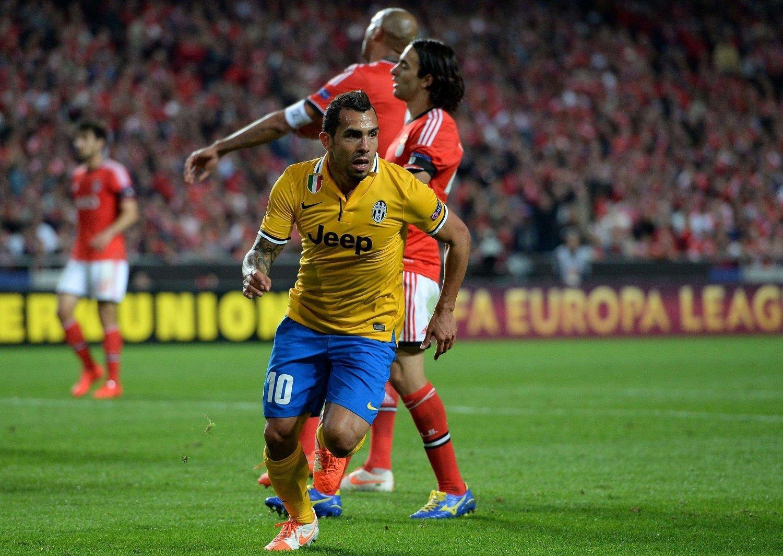 ENDELIG: Carlos Tevez scoret sitt første europacupmål siden 2009. Den gangen spilte han for Manchester United.