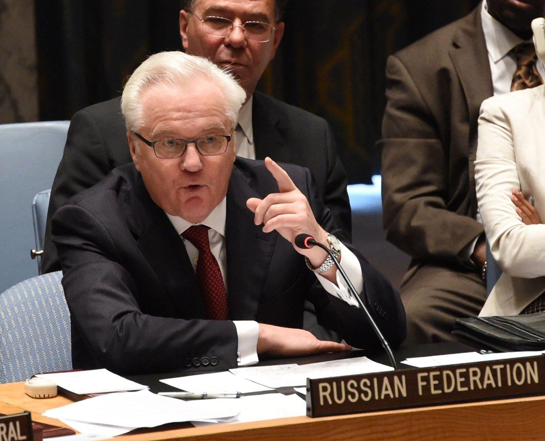 RUSSLAND: Vitaly Churkin er Russlands FN-ambassadør. Her under et møte i FNs sikkerhetsråd om Ukraina 2. mai.