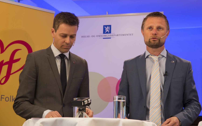 Helseminister Bent Høie og KrF-leder Arild Hareide med ny løsning i reservasjonssaken.