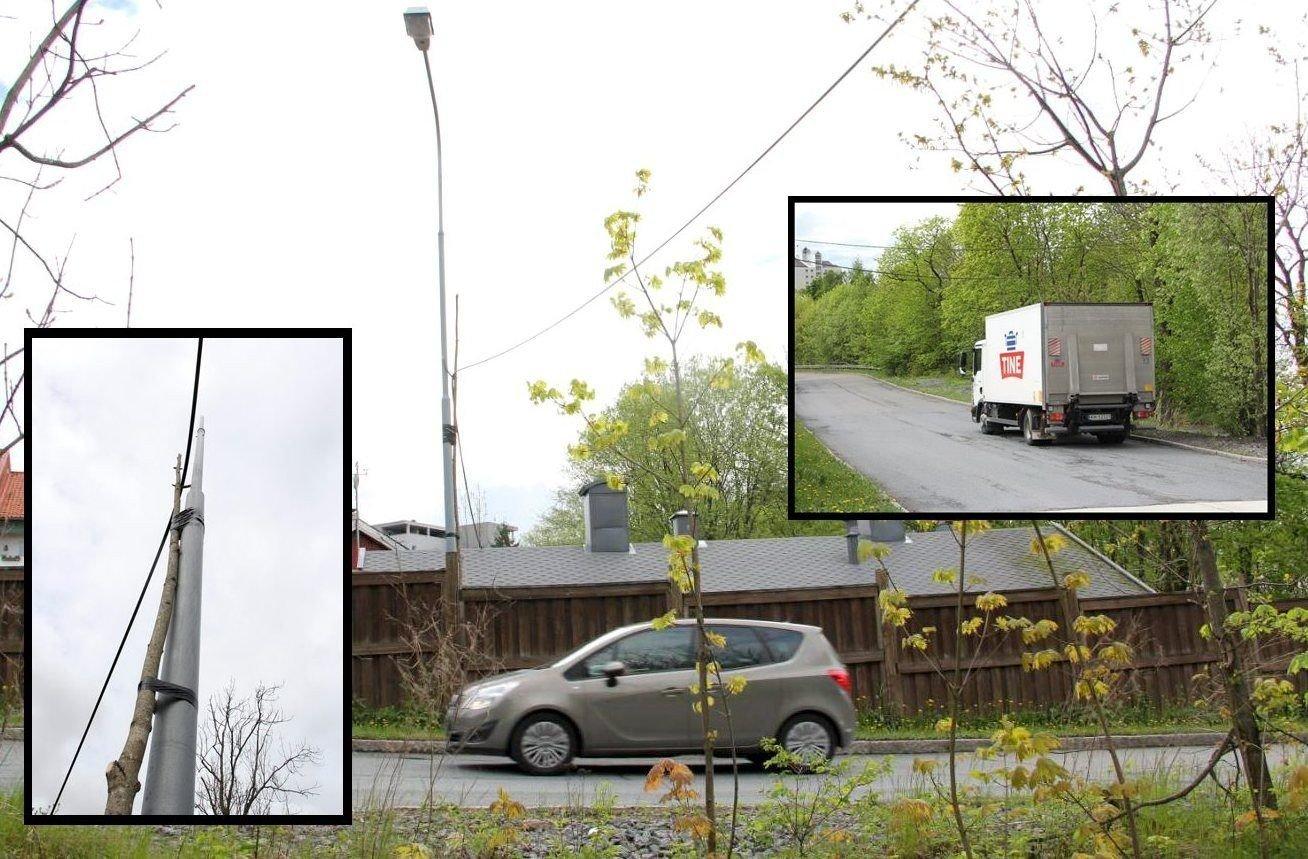Det var en usedvanlig dårlig sikret, lavthengende kabel som var anlagt over den svært trafikkerte Hoffsvein. Foto: Vidar Bakken