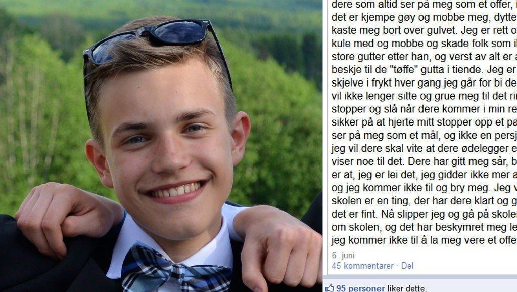 ORKET IKKE MER: 15 år gamle Marius Lønseth tok i bruk Facebook for å få slutt på mobbingen. Foto: privat/Facebook