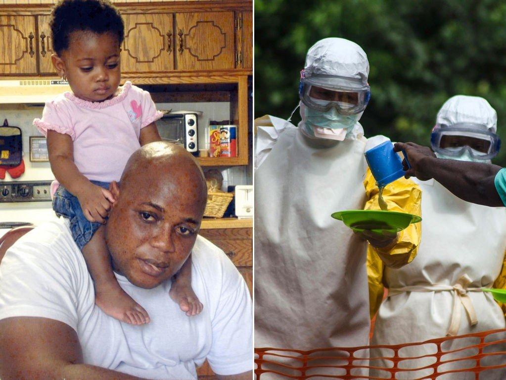 Den amerikanske hjelpearbeideren Patrick Sawyer døde av Ebola-viruset i forrige uke. Her er han avbildet med en av sine døtre. Bildet til høyre viser helsepersonell som behandler Ebola-pasienter i Vest-Afrika.