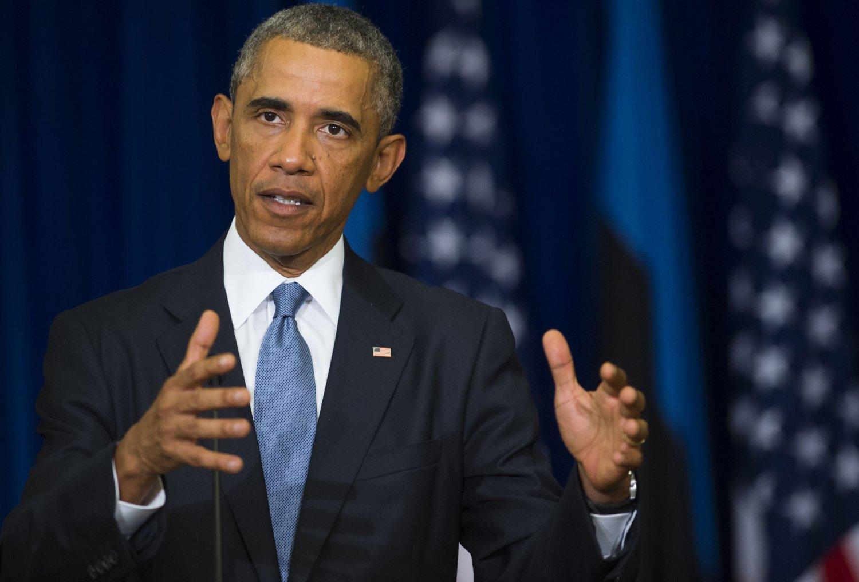KLAR TALE: - Vi skal uskadeliggjøre og ødelegge IS slik at terrorgruppen ikke lenger er en trussel mot regionen eller USA, sa Barack Obama under en pressekonferanse i Tallinn onsdag.