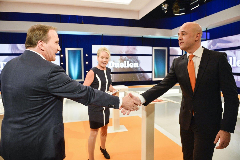 Socialdemokraternas partileder Stefan Löfven og Moderaternas Fredrik Reinfeldt.