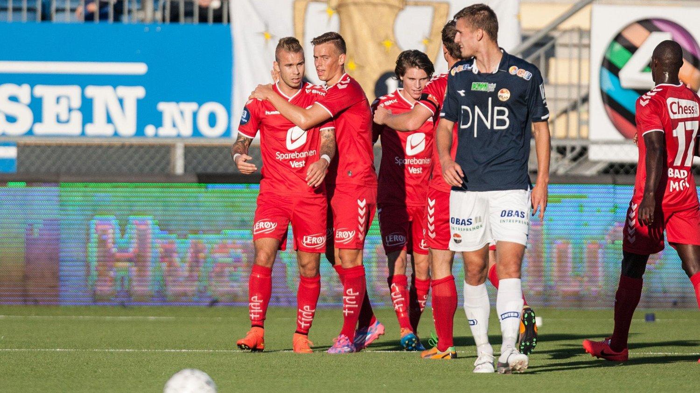 VIKTIG: Brann og Marcus Pedersen tok en viktig seier mot Strømsgodset i Drammen.