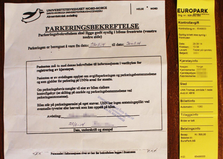FIKK PARKERINGSBOT: Lappen lå godt synelig i ruta. Likevel fikk familien parkeringsbot på Universitetssykehuset Nord-Norge (UNN)