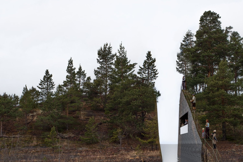 ARR I LANDSKAPET: Illustrasjonsbilde av kunstverket som vant konkurransen om et minnesmerke for 22. juli. Den svenske kuntneren Jonas Dahlbergs ide var å grave ut fra Sørbråten ved Utvika og på den maten skape et arr i landskapet til minne om 22. juli.