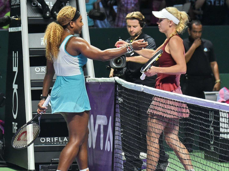 TAPTE: Caroline Wozniacki tapte semifinalen i WTA-mesterskapet mot Serena Williams.
