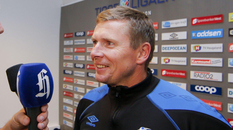 FORNØYD: Haugesunds trener Jostein Grindhaug har etter alt å dømme reddet tippeligaplassen.