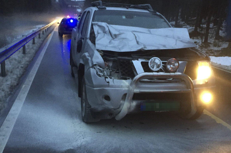 BRANN: En liten stund etter kollisjonen med elgen, begynte det å brenne i motoren på Haavard H. Holstads bil.