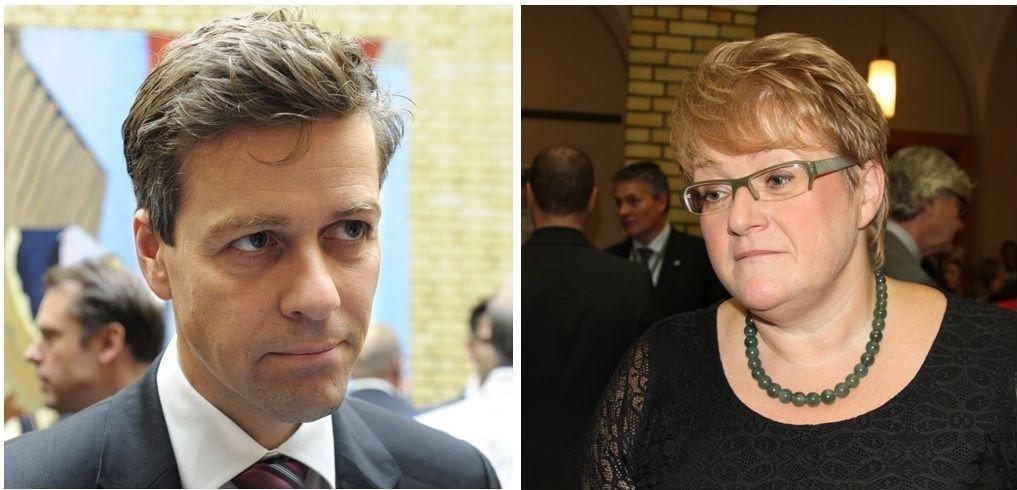 JA SÅ NEI: Knut Arild Hareide (KrF) og Trine Skei Grande (V) er for en tollgrense på 500 kroner i sine partiprogram, men sier nei når regjeringen forelår det samme.