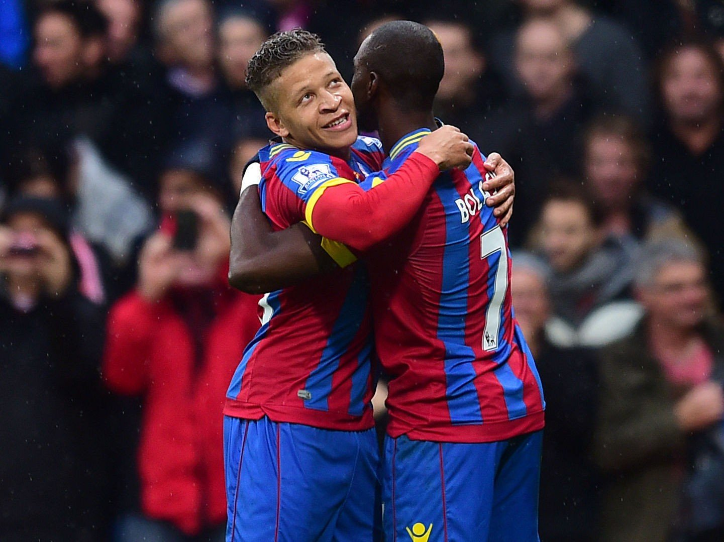 VANT: Crystal Palaces Dwight Gayle og Yannick Bolasie kunne juble for scoring og seier mot Liverpool.