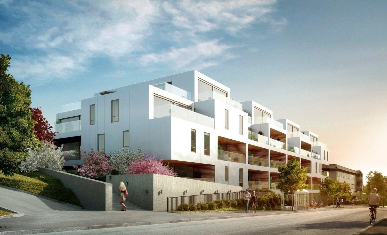 SÆTER TERRASSE: Disse boligene i Ekebergveien 226–228 skal stå ferdige høsten 2016. Det er A-lab som har tegnet prosjektet.