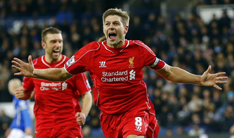 SCORET: Steven Gerrard jubler for sin scoring.