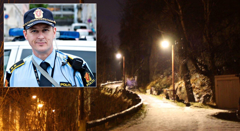 TOK LÆRDOM: Leder for bergenspolitiets operative seksjon Gustav Landro (innfelt) sier politiet har endret rutinene sine etter at guttens nødtelefoner om hendelsene på denne turstien i Ytre Sandviken ikke ble tatt på alvor.