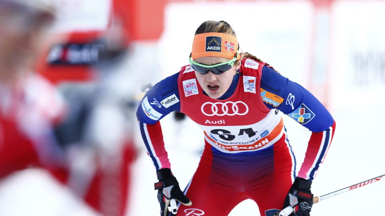NUMMER TO: Ingvild Flugstad Østberg (bildet) og Maiken Caspersen Falla måtte se seg slått av Sverige i søndagens sprintstafett.