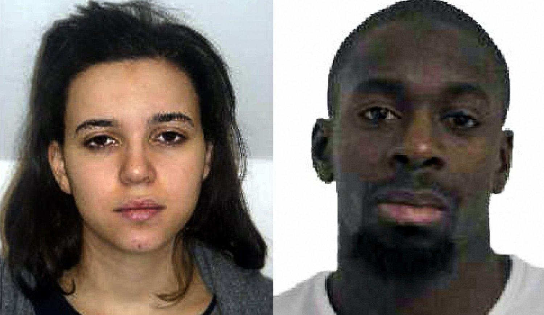 Hayat Boumeddiene (til venstre) skal ha dukket opp i ny IS-video. Til høyre kjæresten Amedy Coulibaly som ble drept etter at han holdt gisler i Paris.