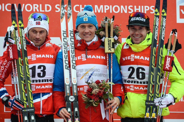 MEDALJØRER: petter Northug, Nikita Kriukov og Alex harvey tok alle medaljer under VM i 2013.