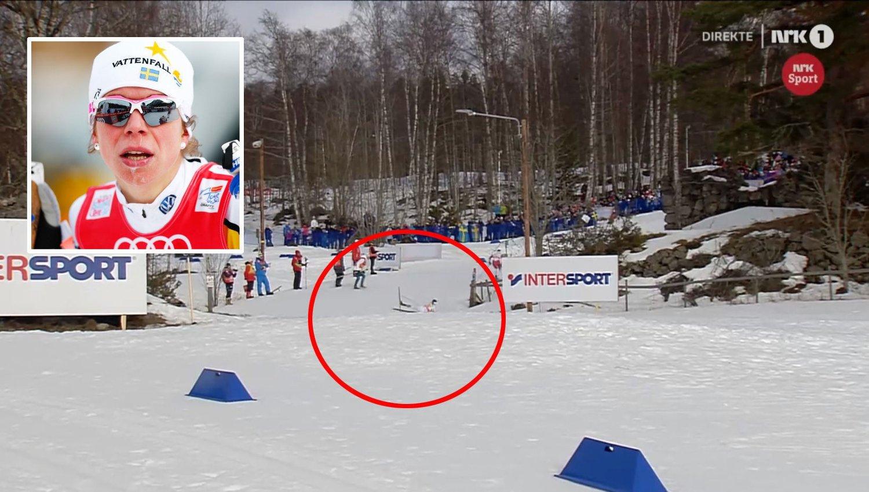 FALT: Maria Rydqvist gikk i bakken under VM-stafetten.