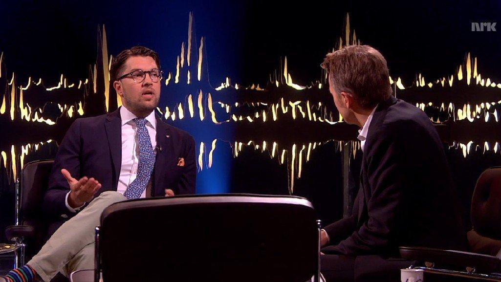 Jimmie Åkesson, leder av Sverigedemokraterna, under intervjuet med Fredrik Skavlan.