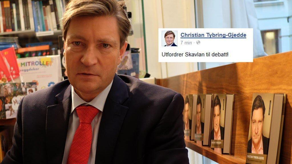 Tybring-Gjeddde vil møte Skavlan til debatt, og er svært lite fornøyd med at Skavlan-redaksjonen har gitt tilbakemelding om at en av NRKs programdirektører kan ta debatten i Skavlans sted.