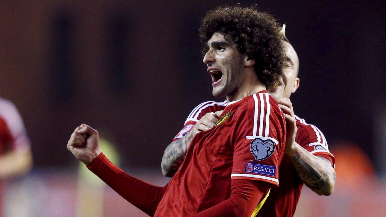 SCORET: Marouane Fellaini scoret kampens eneste mål og sørget for at Belgia klatret opp på tabelltopp i EM-kvalifiseringsgruppe B.