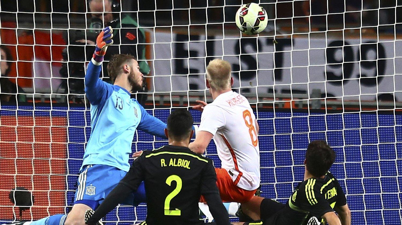 AVGJORDE: Nederlands Davy Klaassen satte inn det avgjørende 2-0-målet mot Spania tirsdag kveld.